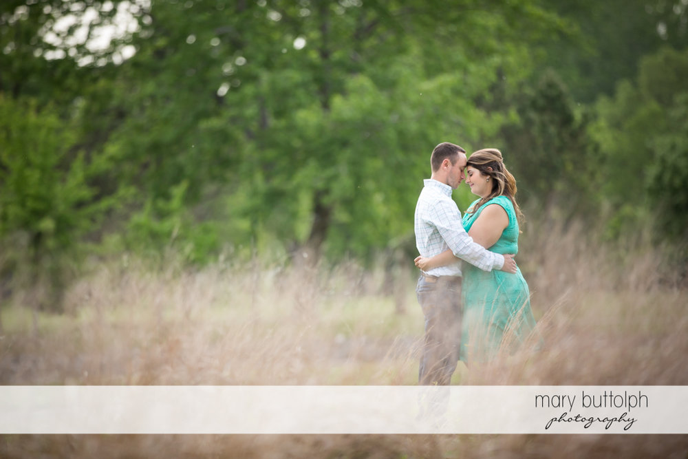 Couple hold each other tight in the park at Emerson Park Engagement