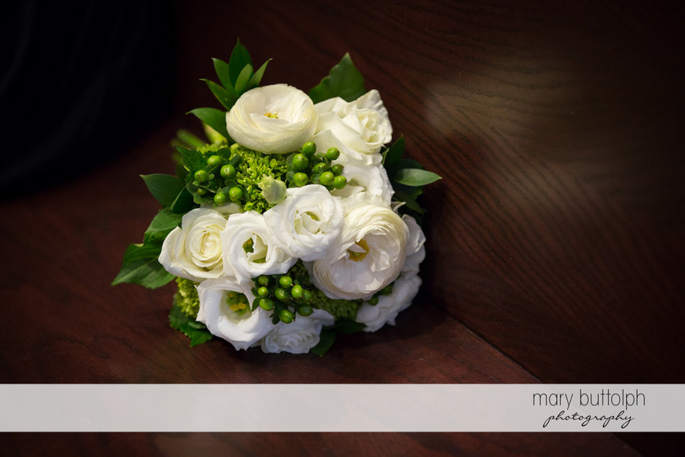 Close up shot of bouquet in church at Skaneateles Country Club Wedding