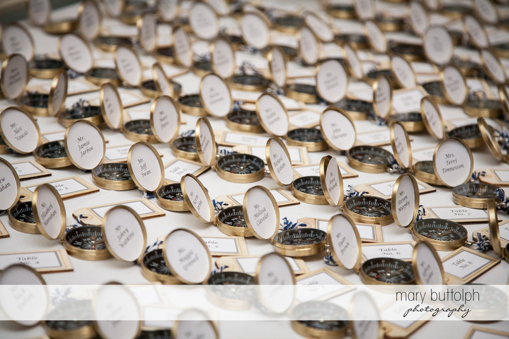 Compasses await guests at Skaneateles Country Club Wedding
