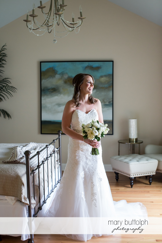 Bride gets ready for the big day in her room at Skaneateles Country Club Wedding