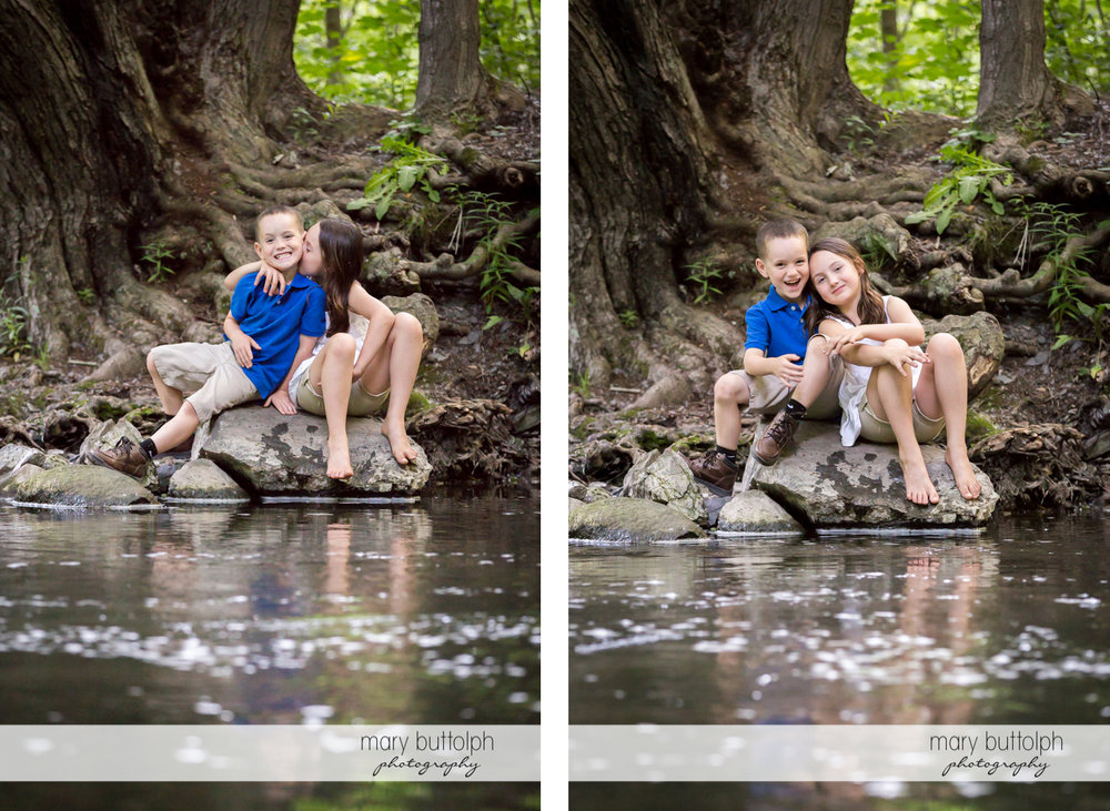 Couple's son and daughter relax by the lake at Skaneateles Engagement