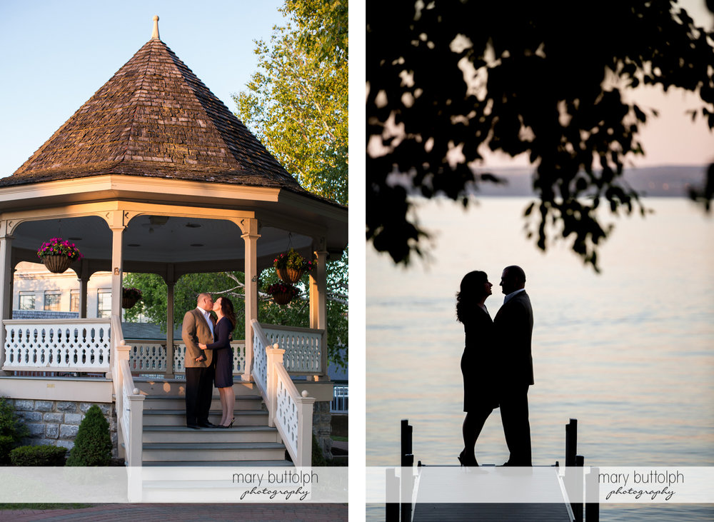 Couple kiss at the gazebo and stand by the lake at Skaneateles Engagement