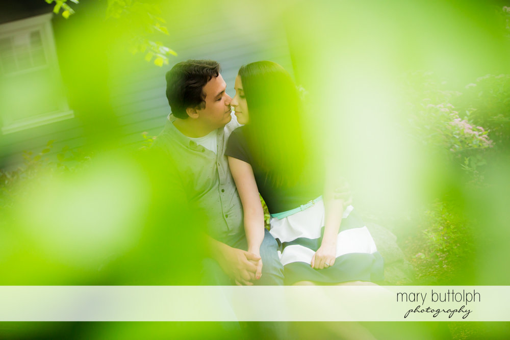 Couple in artistic shot at Skaneateles Engagement
