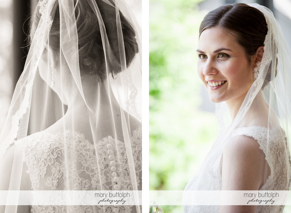 Bride is captured in two beautiful shots at the Inns of Aurora Wedding