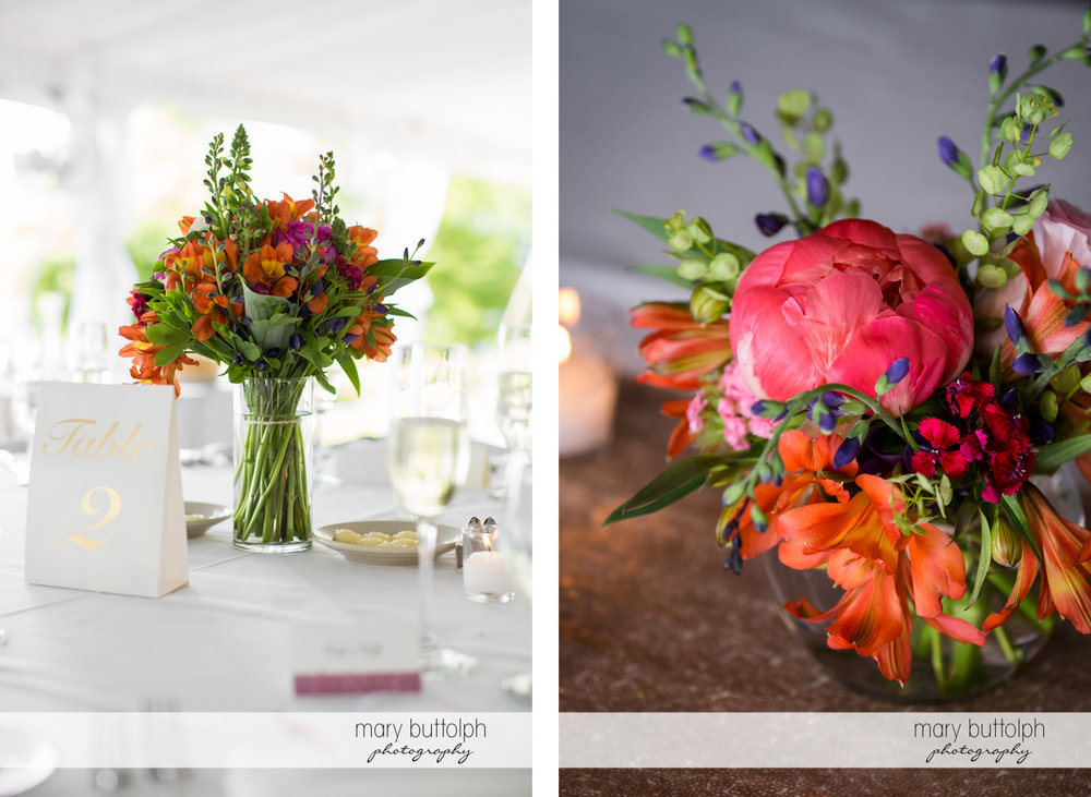 Flowers decorate the tables at the Inns of Aurora Wedding