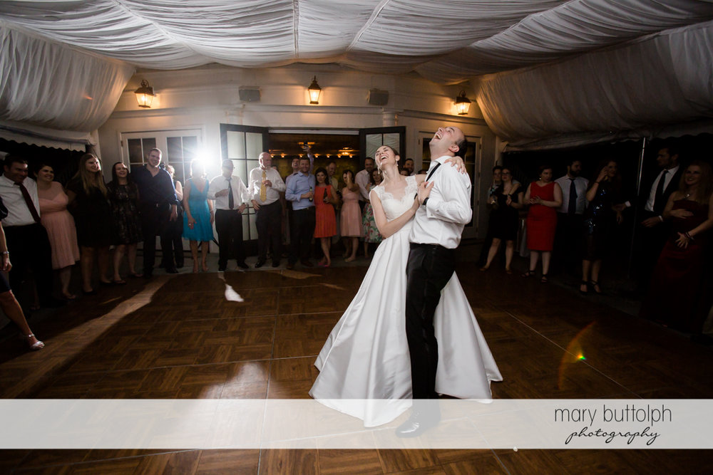 Couple have a great time on the dance floor at the Inns of Aurora Wedding