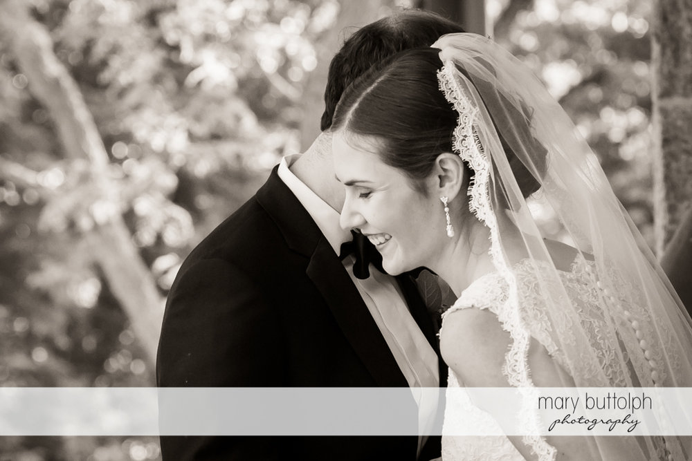 Couple in a great black and white shot at the Inns of Aurora Wedding
