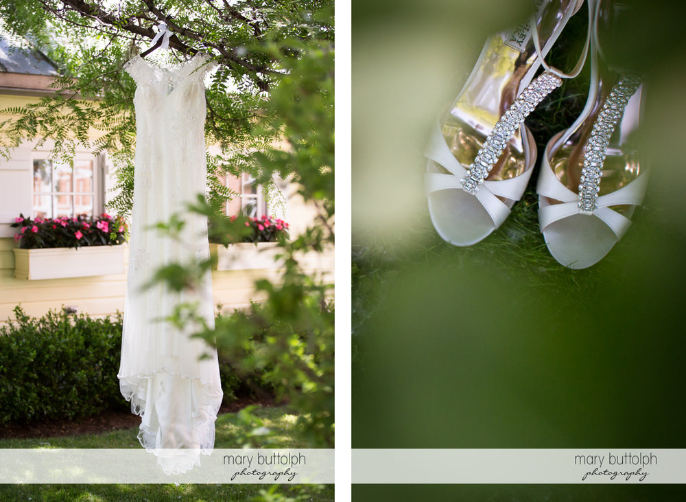 Bride's wedding dress hangs from a tree while her shoes are in the garden at the Inns of Aurora Wedding