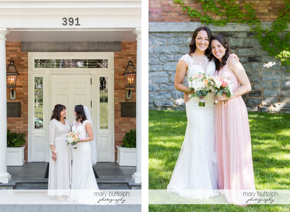 Bride and her mom talk in front of the inn while she is seen with one of the bridesmaids in the second photo at the Inns of Aurora Wedding