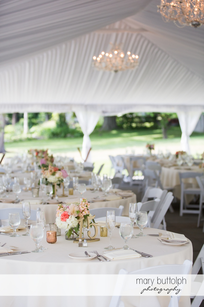 Dining tables at the wedding tent at the Inns of Aurora Wedding