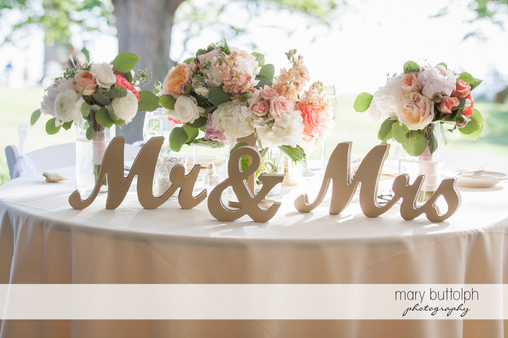 Couple's own dining table at the Inns of Aurora Wedding