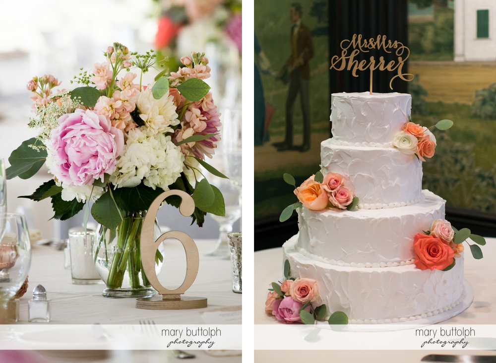 One of the dining tables and the couple's cake at the dining area of the Inns of Aurora Wedding