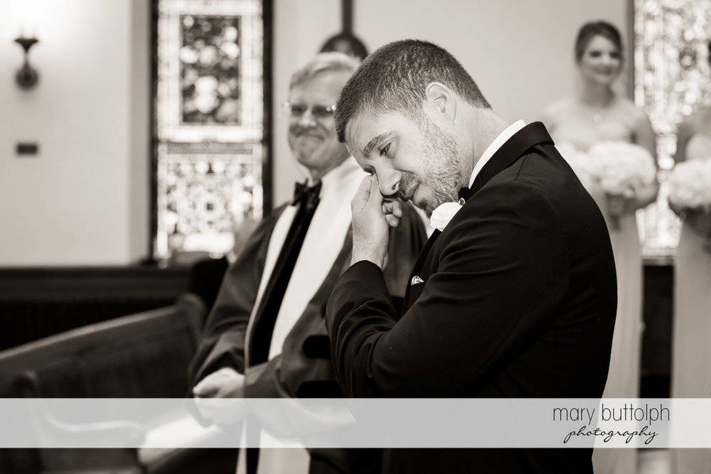 Groom cries on his wedding day at The Lodge at Welch Allyn Wedding