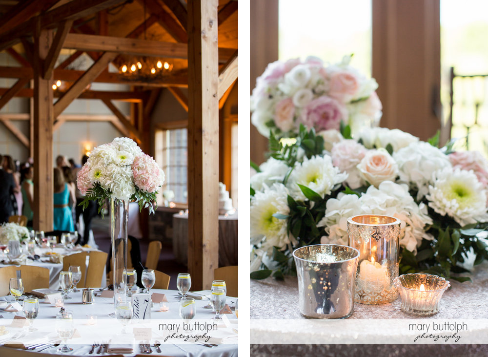 Beautiful bouquets and candles adorn the dining tables at The Lodge at Welch Allyn Wedding