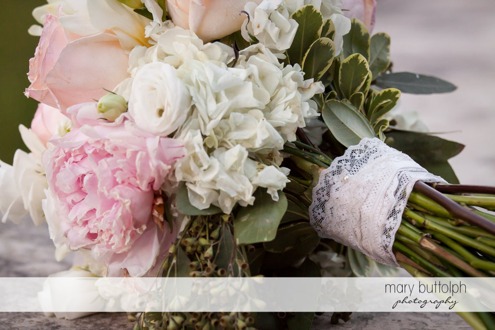Close up shot of wedding bouquet at The Lodge at Welch Allyn Wedding