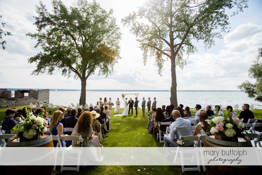 Couple tie the knot in a garden wedding at the Inns of Aurora Wedding