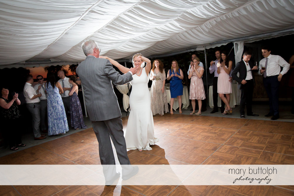 Bride and her father dominate the dance floor at the Inns of Aurora Wedding