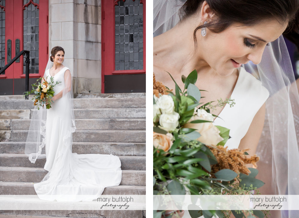 Bride poses in front of the church at Genesee Grande Hotel Wedding