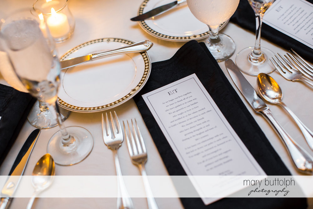 Classy silverware at the dining table at Genesee Grande Hotel Wedding
