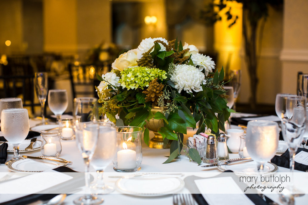 Dining table is ready for guests at the Genesee Grande Hotel Wedding