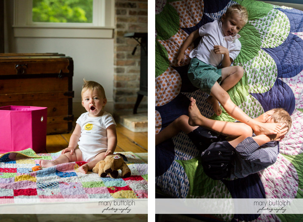 Baby daughter caught yawning while her brothers play in bed at Skaneateles