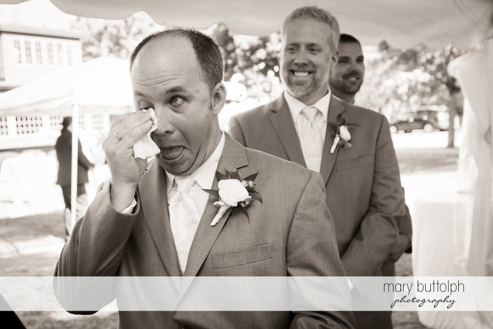 Groom cries as the wedding ceremony begins at The Sherwood Inn Wedding