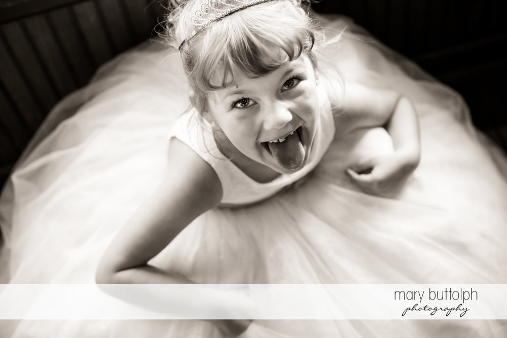 Bride's daughter clowns around at The Sherwood Inn Wedding