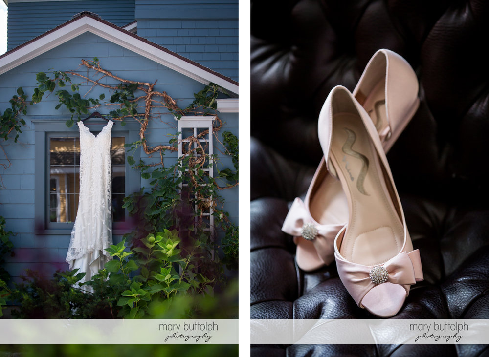Bride's wedding dress hangs from the window in the garden while her wedding shoes are on the couch at The Sherwood Inn Wedding