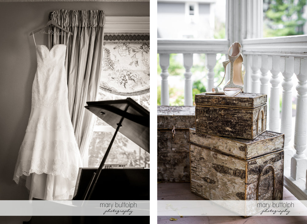 Bride's wedding dress hangs near the window and decorative boxes adorn her room at Skaneateles Country Club Wedding