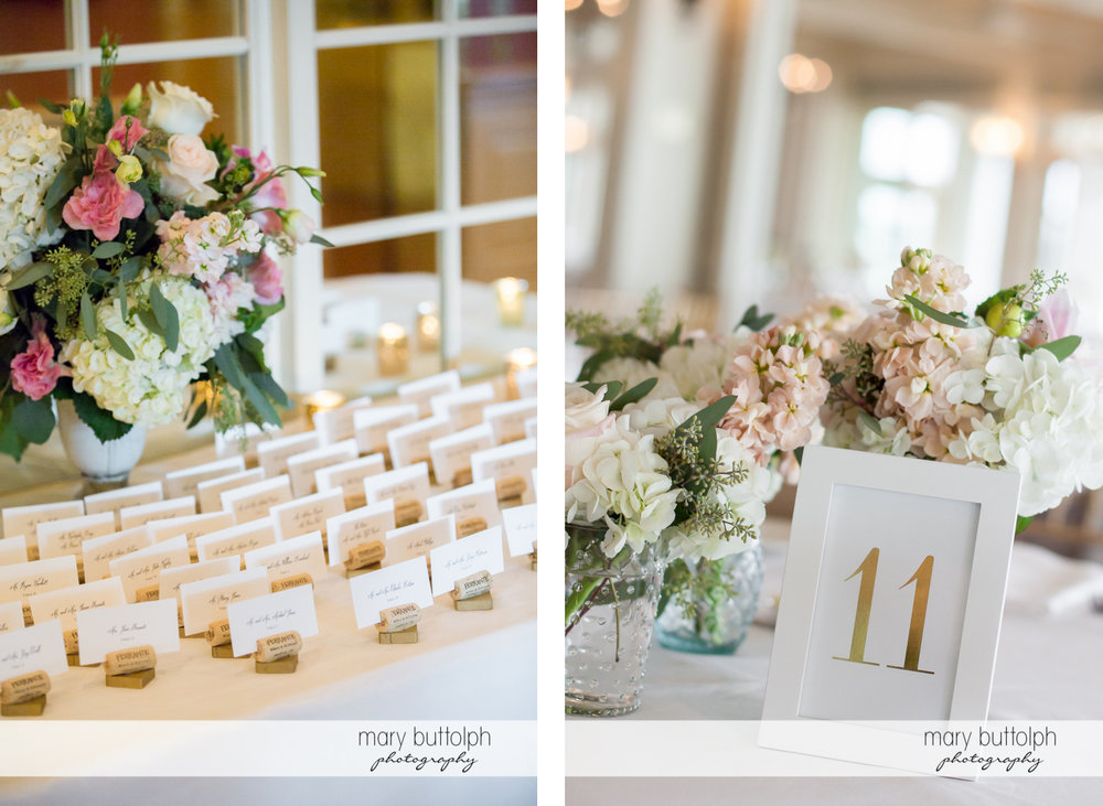 Names of guests at the wedding reception and close up shot of one of the tables at Skaneateles Country Club Wedding