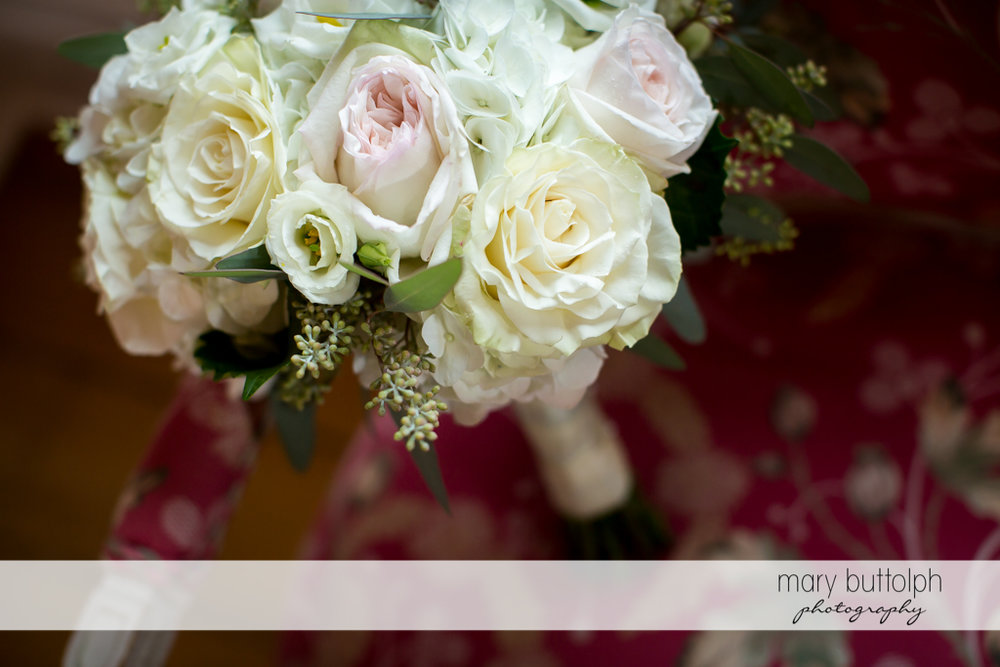 Close up shot of wedding bouquet at Skaneateles Country Club Wedding