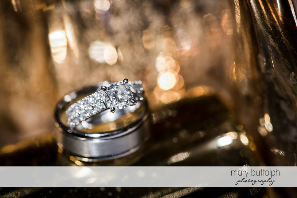 Close up shot of bride's wedding ring at Skaneateles Country Club Wedding