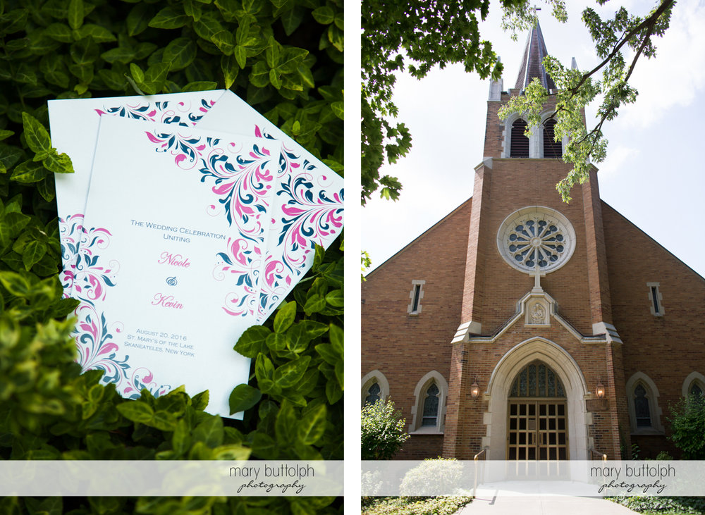 Wedding kite announces the big day at the church at The Lodge at Welch Allyn Wedding