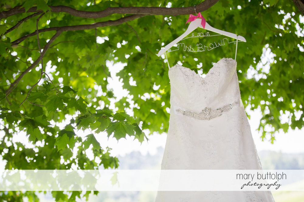 Bride's dress hangs on a tree at The Lodge at Welch Allyn Wedding