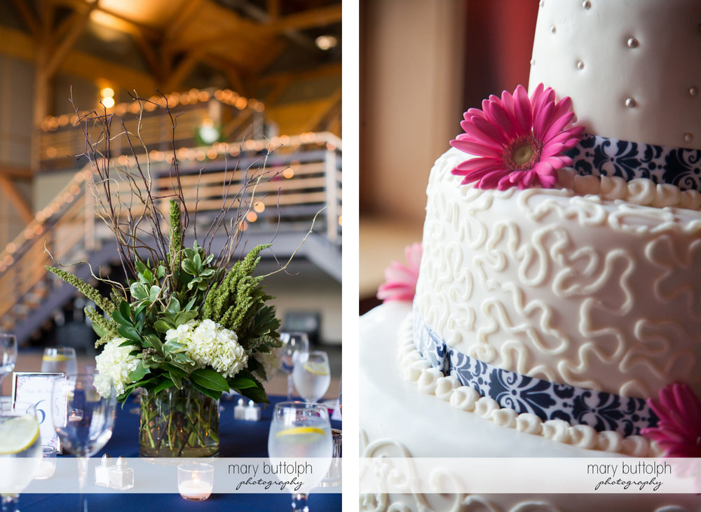 Flowers decorate the table at the wedding venue and close up shot of the couple's cake at The Lodge at Welch Allyn Wedding
