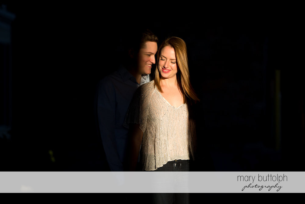 Couple in dramatic moment at Skaneateles Engagement