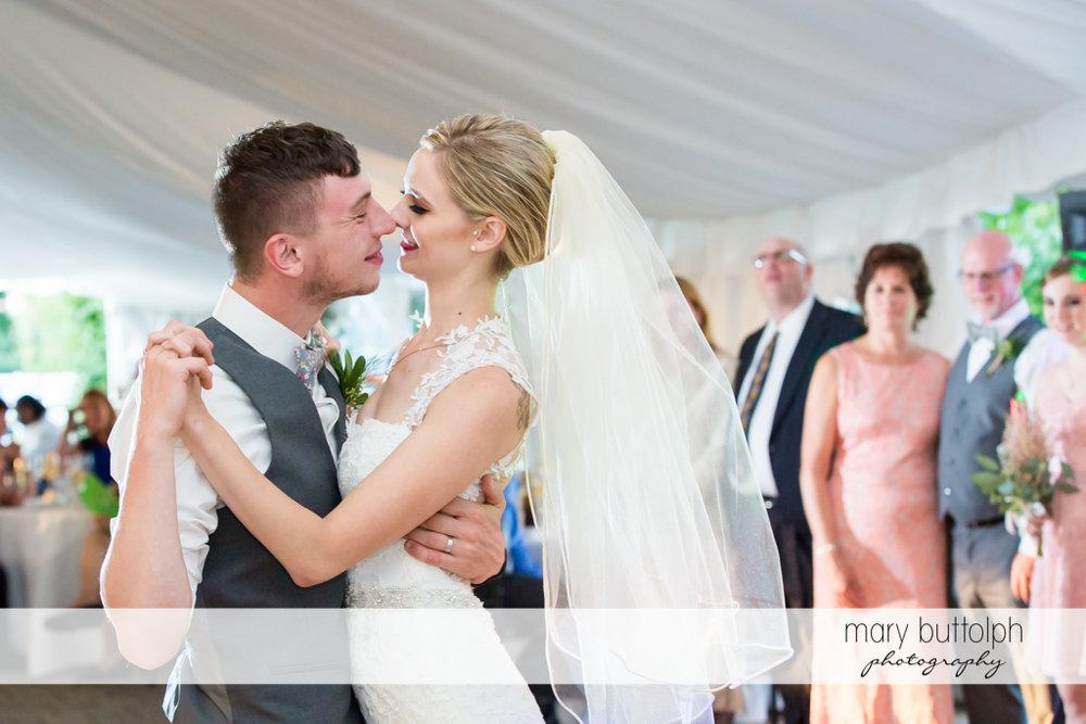 Bride and groom dancing at John Joseph Inn and Elizabeth Restaurant Wedding
