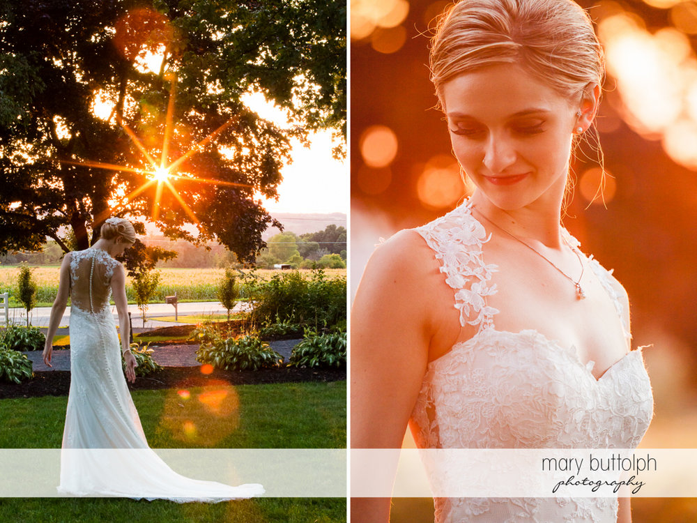 Bride poses in the garden as the sun sets at John Joseph Inn and Elizabeth Restaurant Wedding