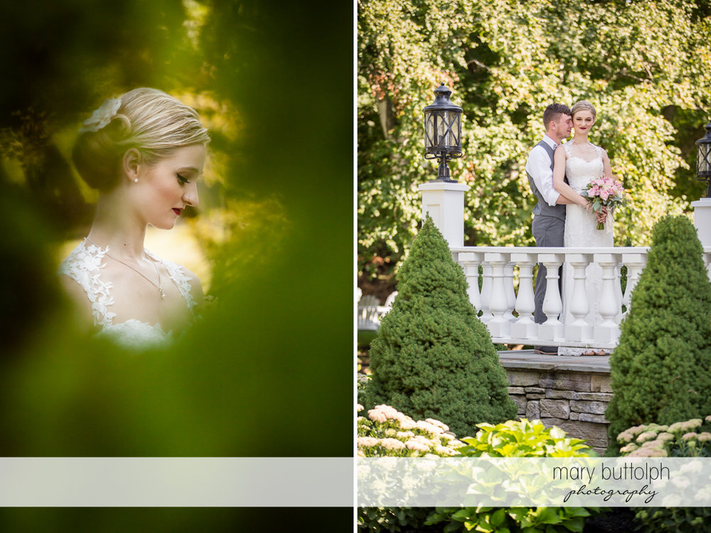 Bride in solo shot and with the groom in the garden at John Joseph Inn and Elizabeth Restaurant Wedding