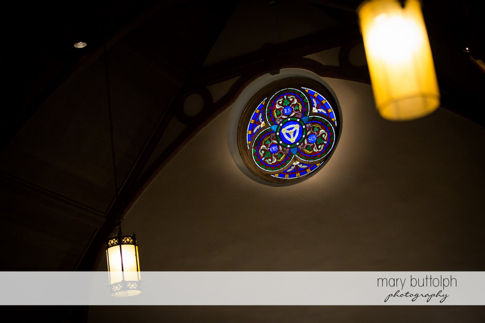 Stained glass window at the wedding church at The Lodge at Welch Allyn Wedding