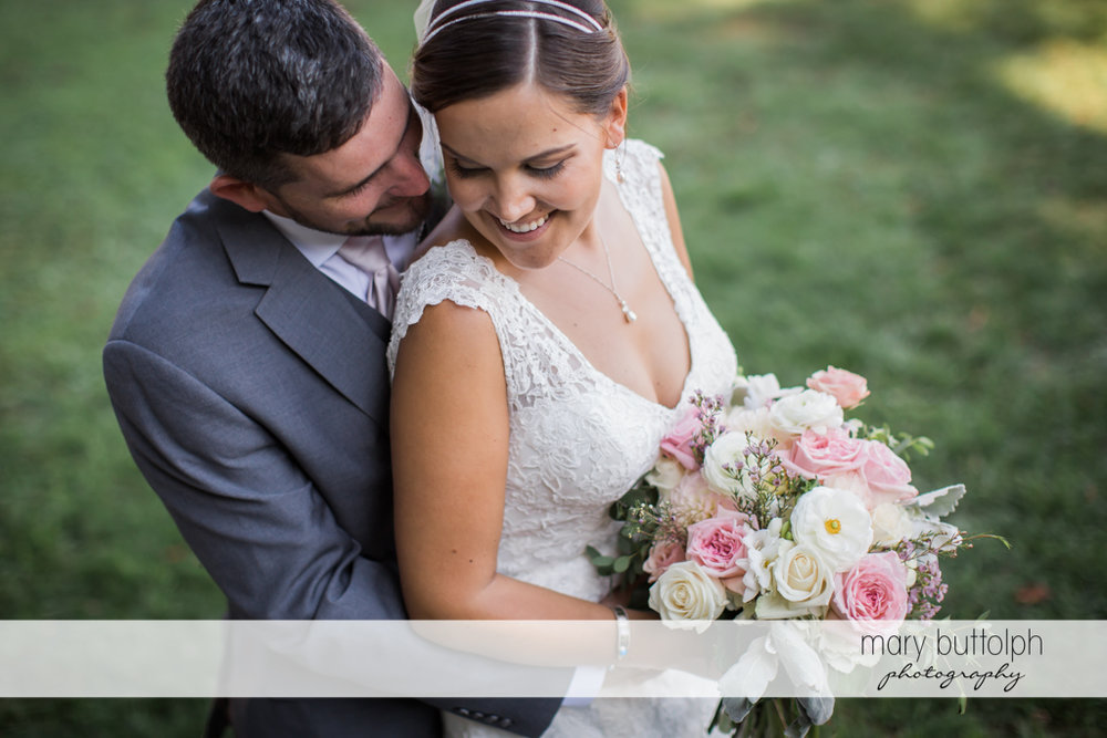 Couple share happy moments at The Lodge at Welch Allyn Wedding