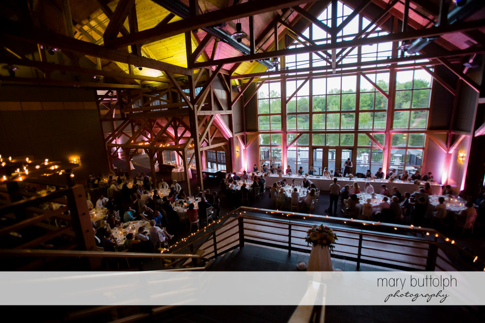 Guests fill up the wedding venue at The Lodge at Welch Allyn Wedding