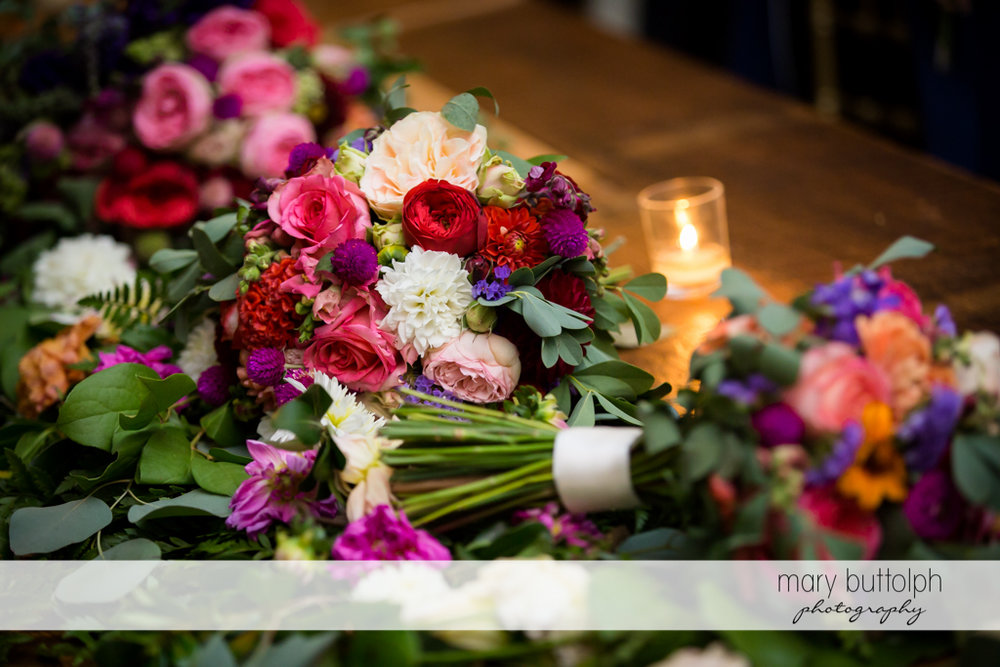 Flowers at the wedding venue at Aurora Inn Wedding