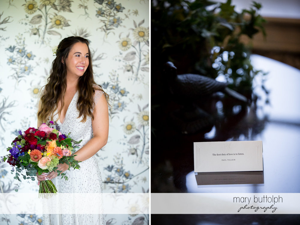 Bride pictured with flowers and a wedding invitation at Aurora Inn Wedding