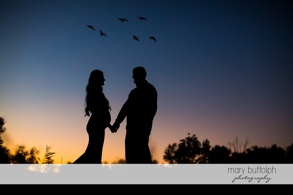 Pregnant woman and her husband enjoy the sunset in the woods at Skaneateles Maternity Photography