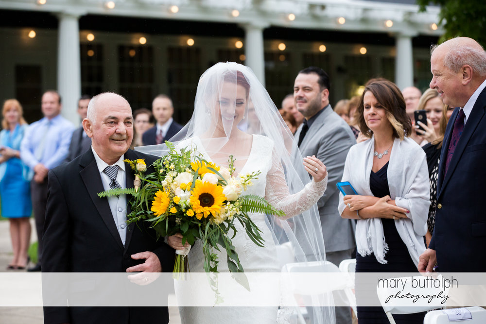 Bride and her dad walk down the aisle at Emerson Park Pavilion Wedding