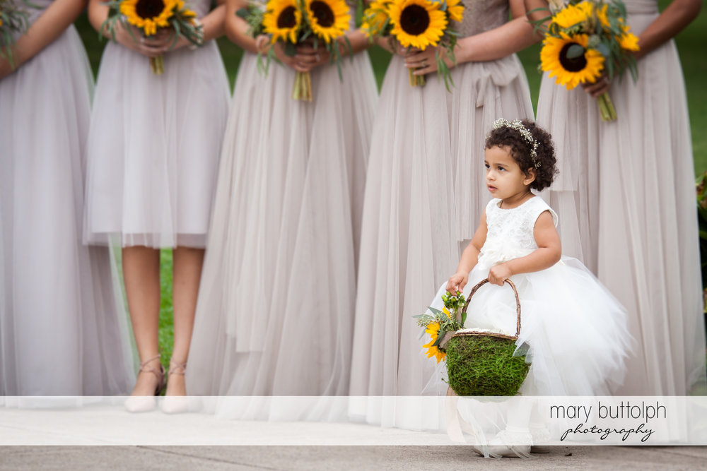 Flower girl walks in front of the bridesmaids at Emerson Park Pavilion Wedding