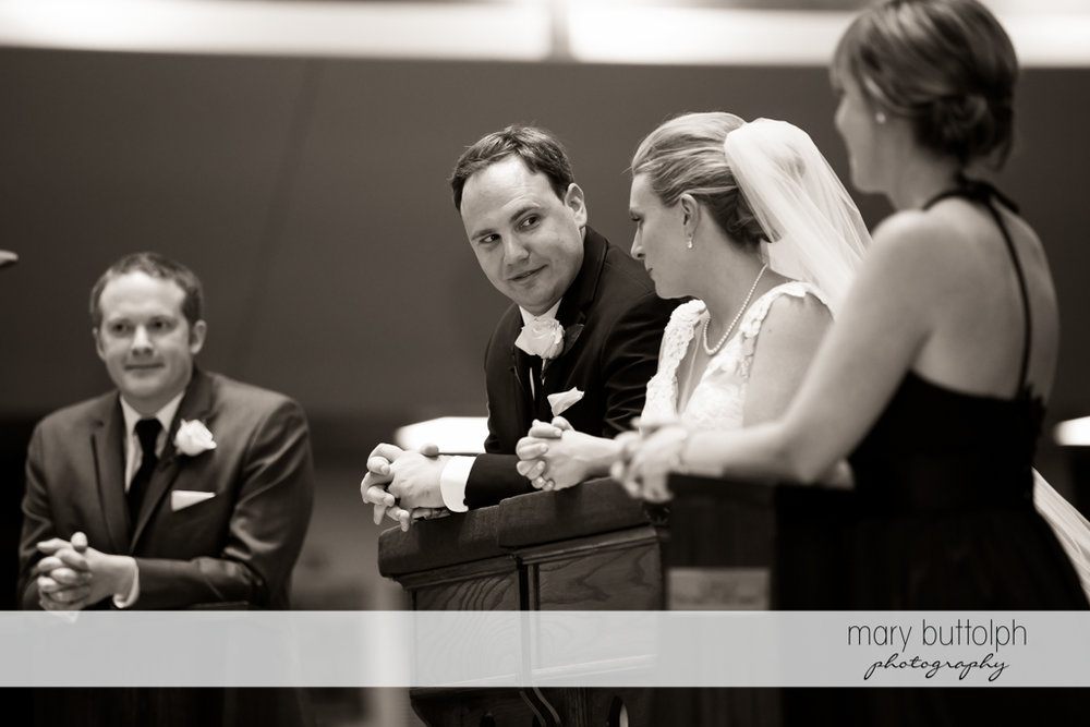 Couple face each other at the altar at SKY Armory Wedding