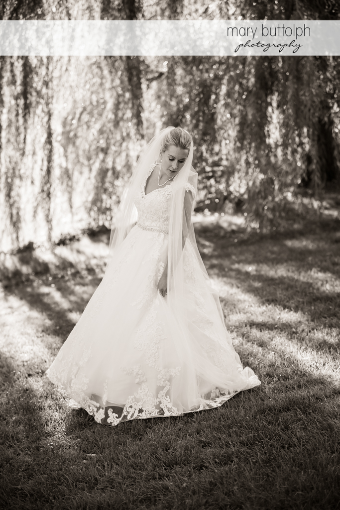Bride poses in the park at SKY Armory Wedding