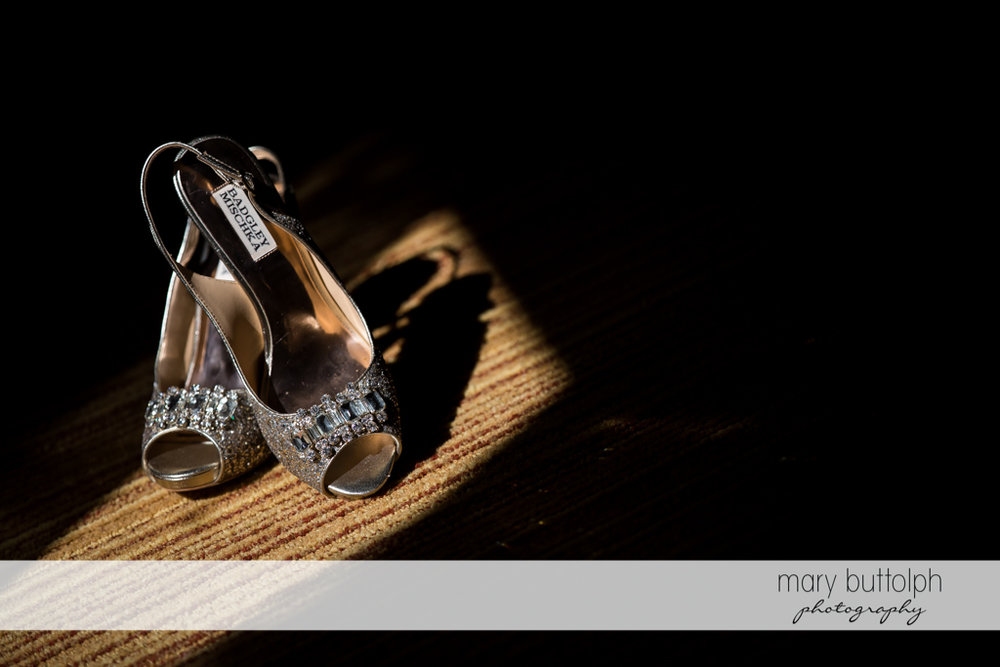 Bride's wedding shoes on the carpet at SKY Armory Wedding